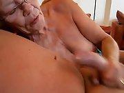 Grandmother works hard to masturbate him off