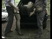 Dogging mature three way in the woods