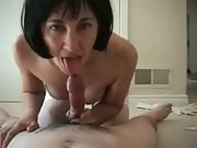 Wifey wearing a basque and stockings sucking and riding jizz-shotgun amateur