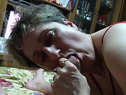 Mature wife tonguing and sucking my penis while i film her