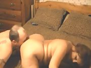 Bored mature couple shows off on skype during the pandemic