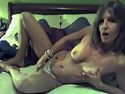 Horny mummy stroking on cam to viewers
