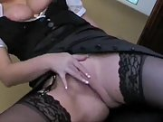 Slutty maid draining in her boss's office