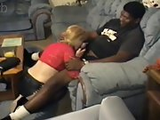 Ultra-cute blondie cougar pleases a muscle black guy in couch