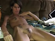 Skinny wifey with furry pussy undressing