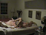 Mature housewife couple homemade sex romp in bedroom at weekend