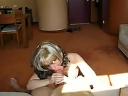 Blonde mummy taking a load of semen in her mouth