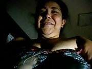 Plus-size mature latin pal cumming while on top