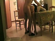Shag in the living apartment on the table banging an older woman