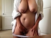 Huge titted wife pleases herself early morning