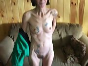 Skinny tattooed wife with hairy muff stripping