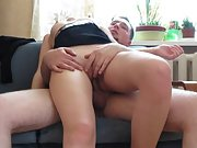Homemade orgy tape providing wife an orgasm on the couch
