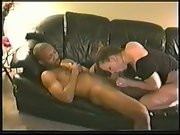 Ebony my white wife cuck amateur bred on leather couch with stud