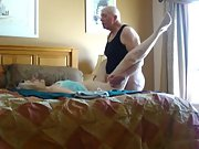 Blonde grannie at her best giving head to her husband