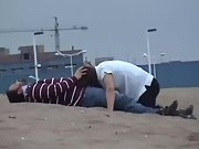 Nasty wife deep-throating hubby and gulping cum at the beach