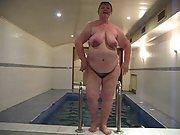 Delightful fatty granny has been mastering a pool in sauna