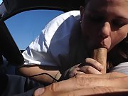 Plump trailer trash wifey giving her husband a blow-job in the car and getting cim