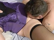 Wifey and hubby with pal in her black and purple linerie