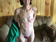 Thin tatted granny wants her pussy seen all over the world
