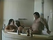Super-fucking-hot youthful wives enjoy 3some sex with an older man in the bathtub