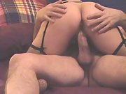 Wife railing my hard man sausage from behind on top while caressing body